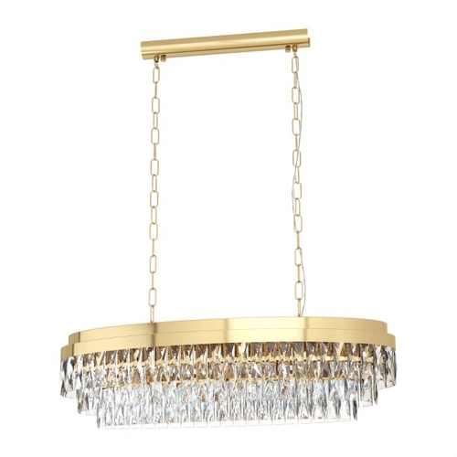 VALPARAISO H/L 10X40W E14 GOLD STEEL & CRYSTAL