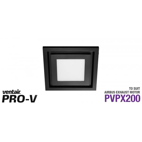 Matte Black Square Fascia with10w LED Panel (642Lm, 4200K Natural White) to suit AIRBUS 200 body (PVPX200)