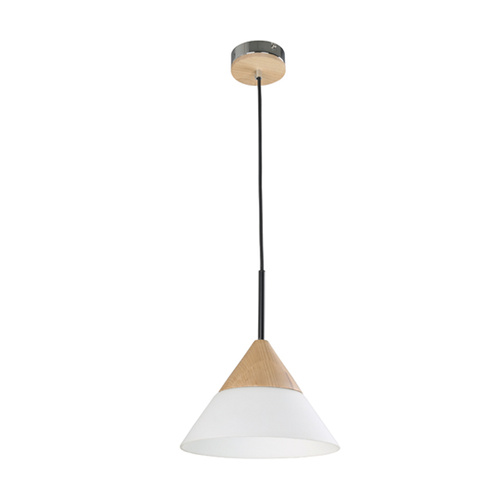 PENDANT ES 40W BLONDE WOOD/ OPAL GLASS SML CONE  OD265mm x H185mm 3m cable WTY 1YR