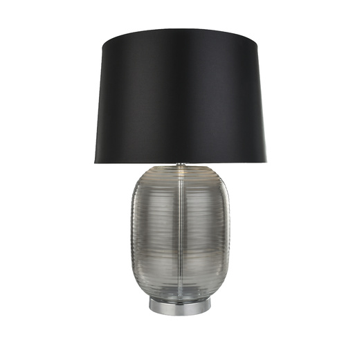 Lani Table Lamp Modern Black Ribbed Glass