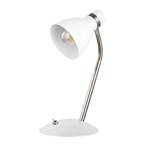 Lono White and Brushed Chrome Desk Lamp