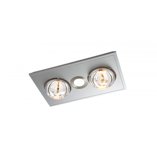 MYKA 2 - Slimline 3 in 1 with 2 x 275w Infrared Heat Lamps, 10W LED Downlight and side ducted exhaust - Silver