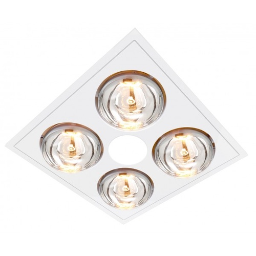 MYKA 4 - Slimline 3 in 1 with 4 x 275w Infrared Heat Lamps, 10W LED Downlight and side ducted exhaust - White