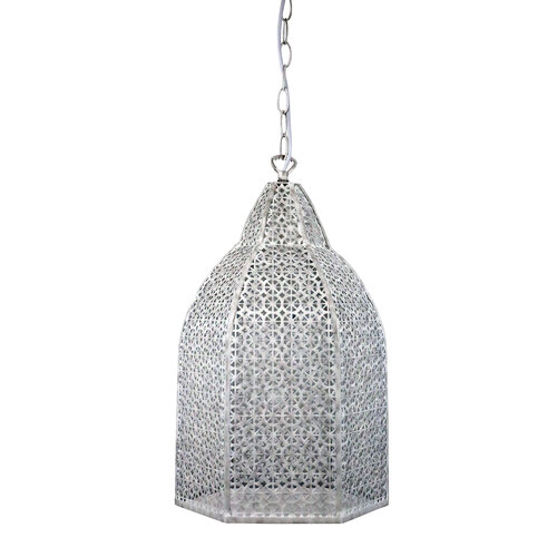 Istanbul Wrought Metal Antique White Pendant