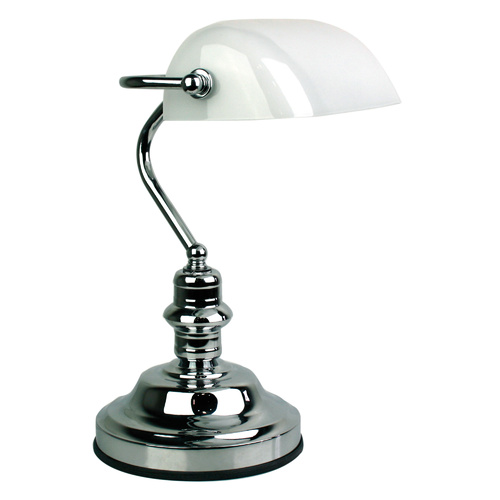 Bankers Lamp Touch Chrome / Gloss Opal